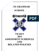 Year 9 2011 Assessment Schedule FINAL