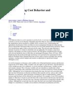 Understanding Cost Behavior and Classification