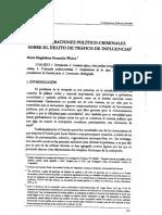 Consideraciones politico-criminales sobre el delito de trafico de influencias. Maria Magdalena Ossandón Widow
