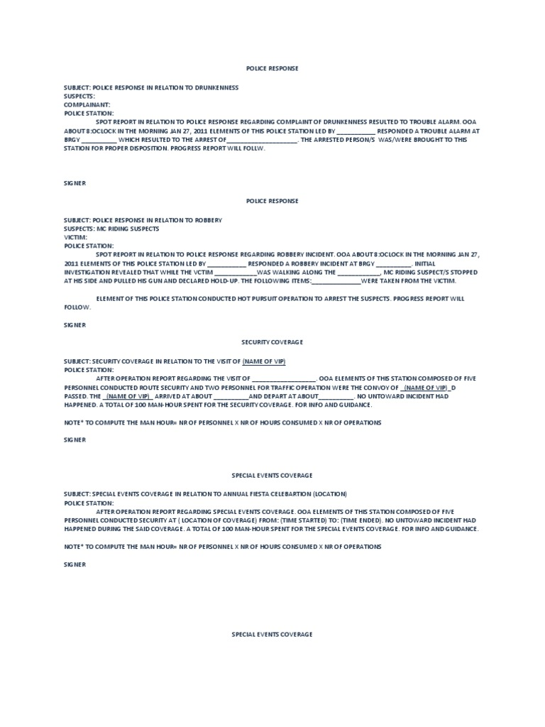 Format Spot Report – Police Report Format