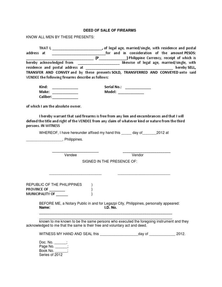 Deed of sale firearms sample for Non ownership of motor vehicle affidavit