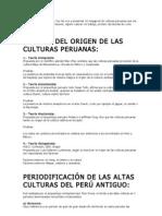 TEORÍAS DEL ORIGEN DE LAS CULTURAS PERUANAS