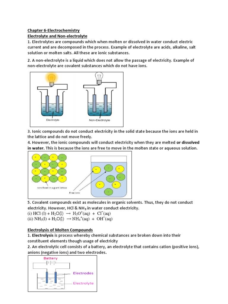 Chapter 6 Electrochemistry Electrolyte