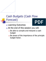 Cash Budgets (Cash Flow Forecast)