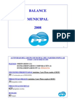Balance del PP del Ayto de  A Coruña año 2008