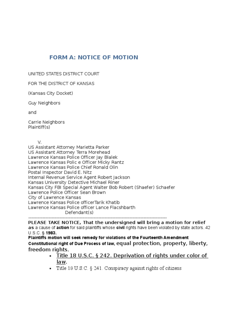 FORM A Notice of Motion for Guy and Carrie neighbors