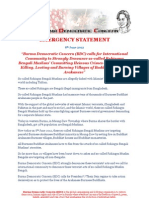 Burma Democratic Concern BDC EMERGENCY STATEMENT on Current Situation of Burma