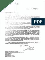 Réponse  de François Hollande à  Oscar Temaru