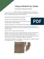 Oxyrhynchus Papyrus III 466 (P. Oxy. III,466) English Translation by Michael B. Poliakoff