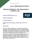 LIVE - Science, Philosophy & Peace - Quantum Physics & Observation Problem, etc