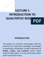Lecture 1 Introduction to Qualitative Research