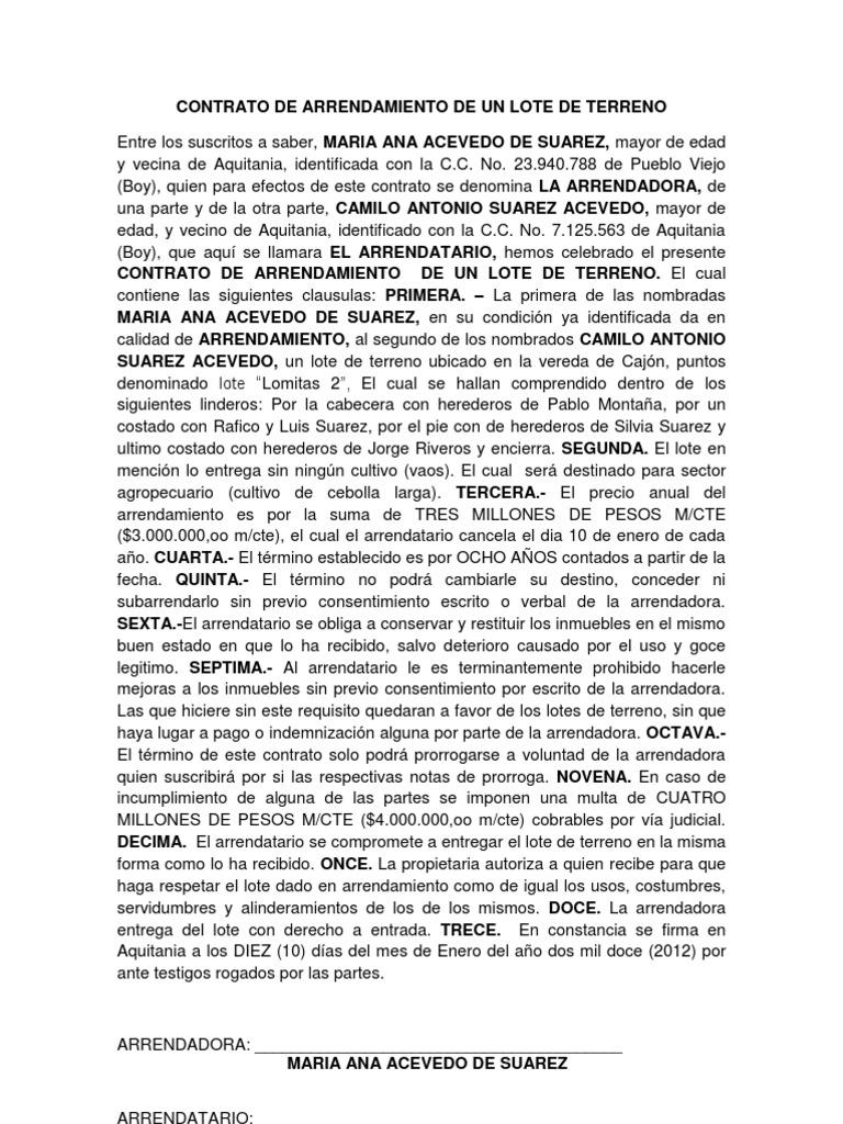 Hermosa Plantilla De Contrato De Tierra Composición - Ejemplo De ...