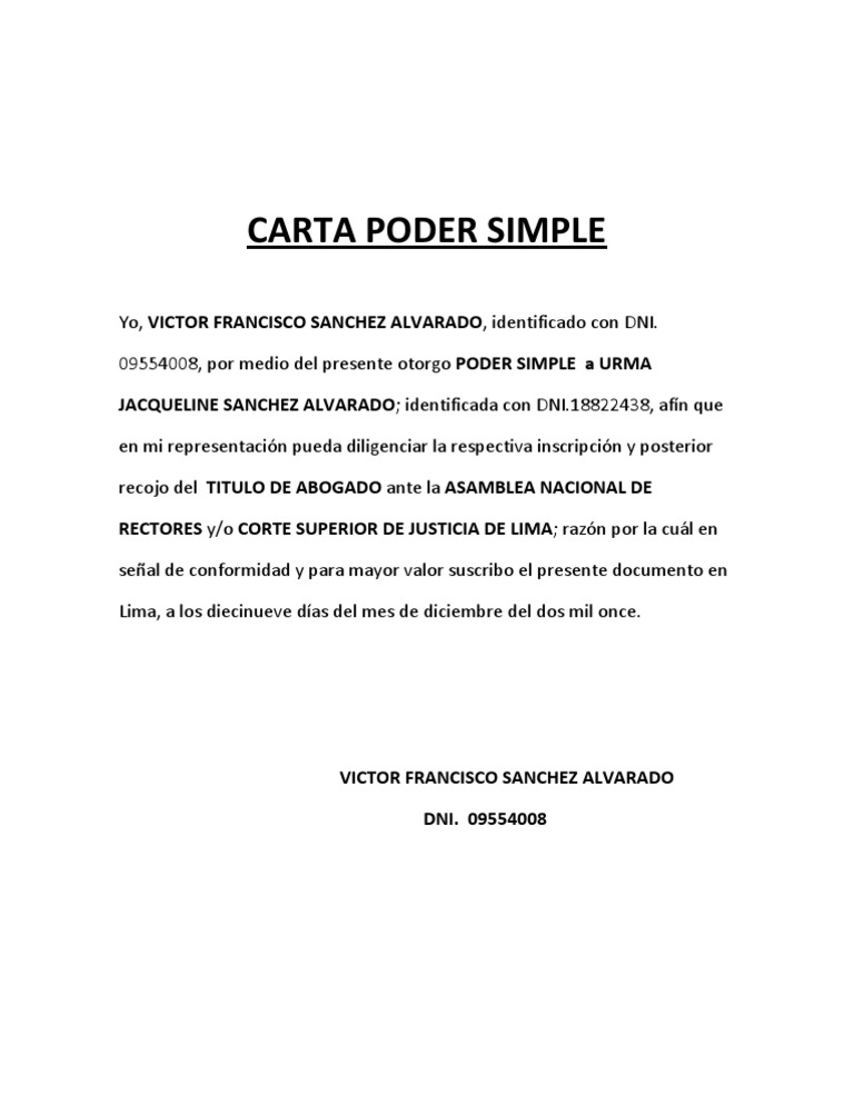 Carta Poder Simple - photo#26