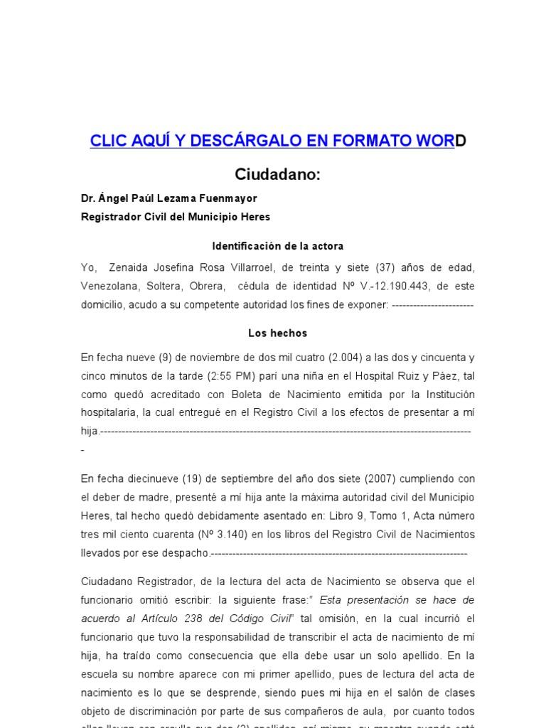 SOLICITUD DE RECTIFICACIÓN DE ACTA DE NACIMIENTO PROCEDIMIENTO ...