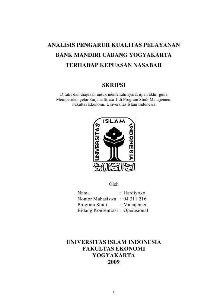 Analisis pengaruh kualitas pelayanan bank mandiri cabang yogyakarta analisis pengaruh kualitas pelayanan bank mandiri cabang yogyakarta terhadap kepuasan nasabah ccuart Images