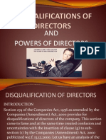 Disqualifications of Directors