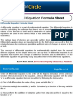 Differential Equation Formula Sheet