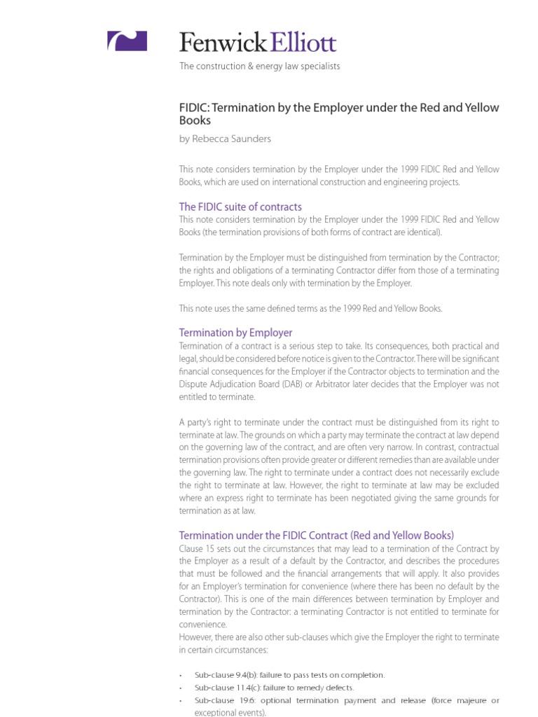 Fidic Termination General Contractor Bribery