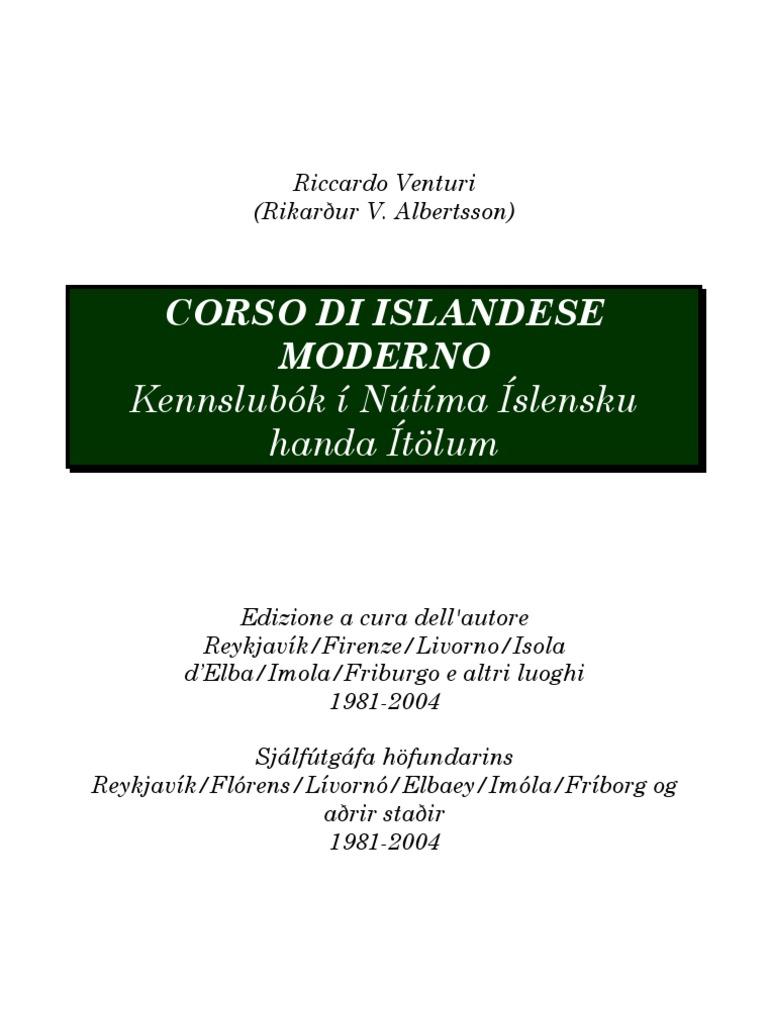 Corso Handa Ítölum Í ModernoKennslubók Íslensku Islandese Nútíma Di oerCBdx