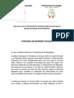 SYNTHESE DE RAPPORT D'AUDIT