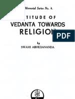 Attitude of Vedanta Towards Religion - By Swami Abhedananda
