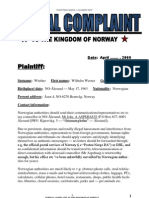 FORMAL COMPLAINT vs the Kingdom of Norway