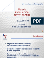 Presentación inicial de la materia.- Evaluación Institucional