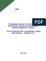 2011 Programa Anual de Seguridad y Medio Ambiente