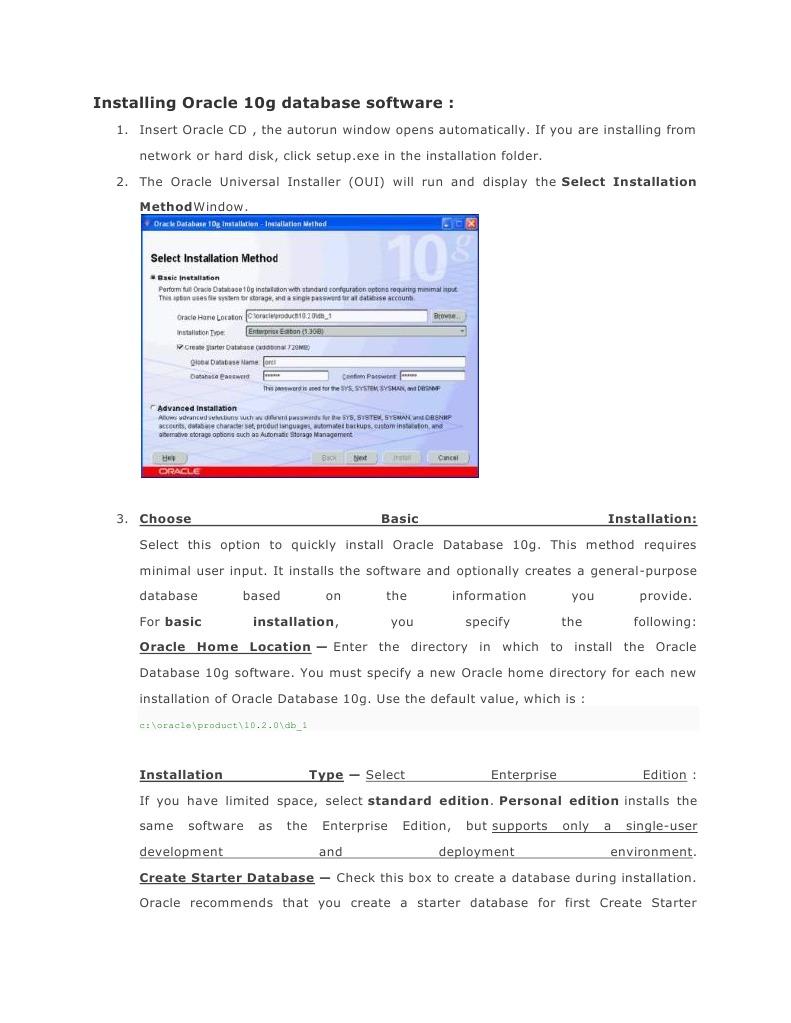 Installing-Uninstall Oracle 10g Database Software
