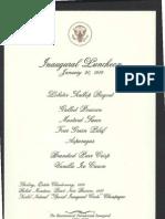 Inaugural Luncheon Menu, 1989