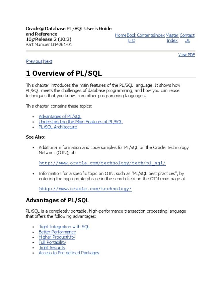 Oracle PLSQL  Pl/Sql  Sql