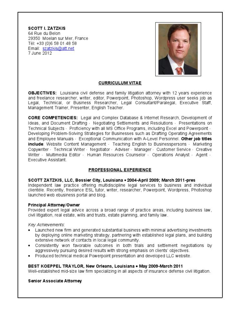 Scott Zatzkis CV | Lawyer | Practice Of Law