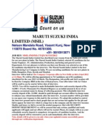 From Maruti Suzuki Direct Recruitment Center