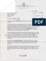 Ltr Minister VAC to Foote