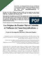Les origines du Premier Mai en Colombie et l'influence de l'anarchosyndicalisme