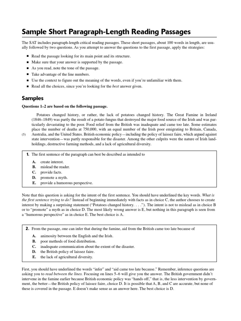 - SAT Sample Short ParagraphLength Reading Passages Genetics