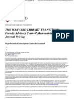 Faculty Advisory Council Memorandum on Journal Pricing § THE HARVARD LIBRARY TRANSITION