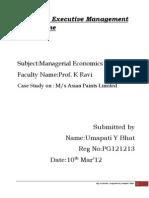 Managerial Economics Assignment-I,II & III.byregn No.pg121213