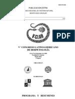 resumen V congreso Internacional de Herpetología