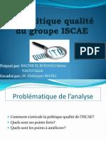 La politique qualité de l'ISCAE