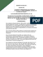 DECRETO 443 de 2011, Parqueaderos, Intensidad Sonora, Corredores Viales Etc.
