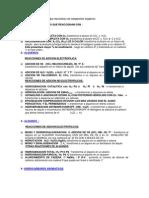 Lista de algunos reactivos que reaccionan con compuestos orgánicos