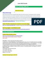Afidence Event List -- June 2012