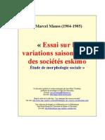 MAUSS, Marcel - Essais Sur Les Variations _ Des Societes Eskimo