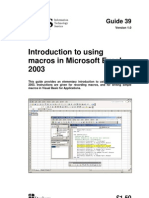 Introduction to Using Macros in Microsoft Excel 2003