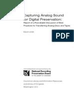 Capturing Analog Sound for Digital Preservation