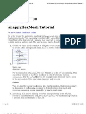 SnappyHexMesh Tutorial   Computer File   Directory (Computing)