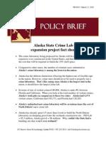 Alaska State Crime Lab Fact Sheet