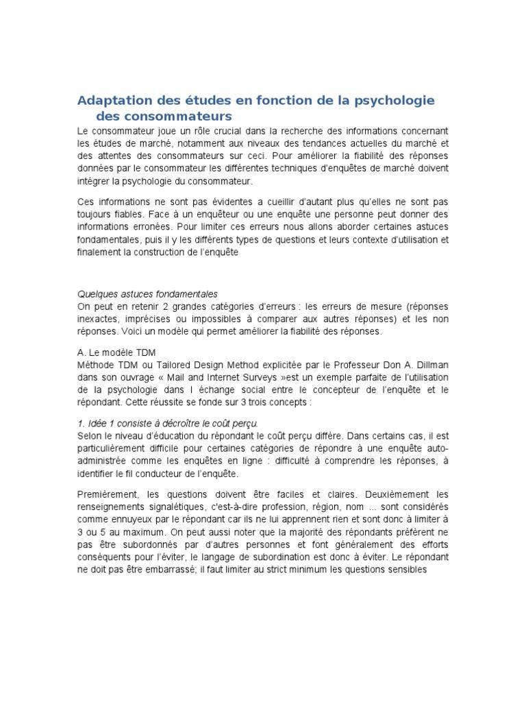 Adaptation Des Etudes De Marche En Fonction Des Consommateurs