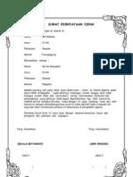 55508979 Contoh Surat Pernyataan Cerai